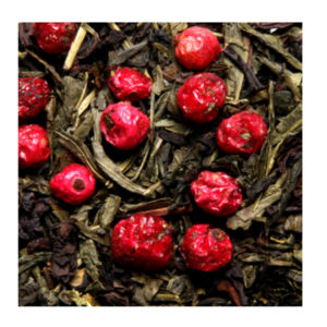 The Vert Aromatise Fruits Rouge Sencha Calida Detail