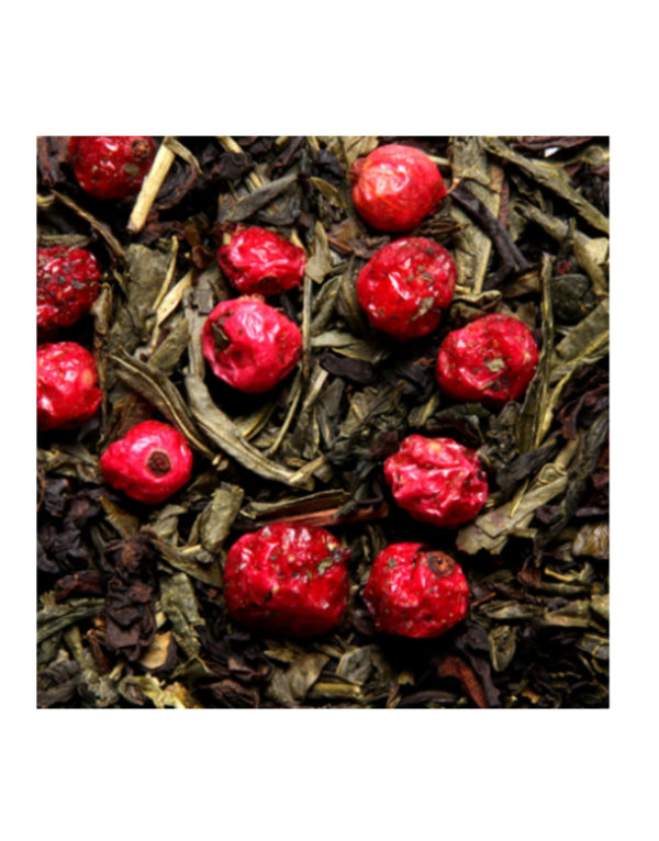 The Vert Aromatise Fruits Rouge Sencha Calida Detail