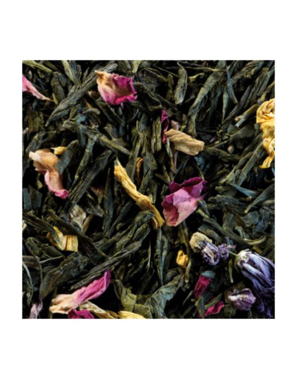 The Vert Aromatise Sencha Printemps Frais Pamplemousse Vanille Detail